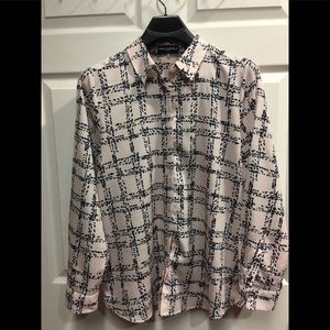 Karl Lagerfeld pink top with blue pattern large